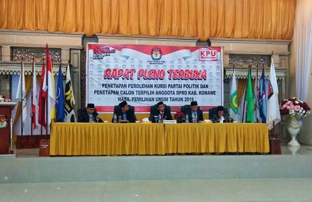 Pleno penetapan perolehan kursi partai politik dan penetapan anggota DPRD Konawe terpilih periode 2019-2024