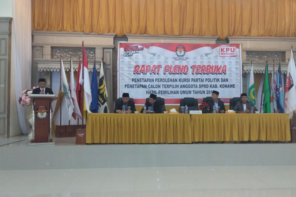 Pleno penetapan perolehan kursi Parpol dan Calon DPRD terpilih