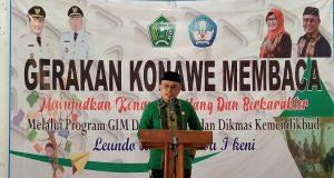 KONAWE MEMBACA - Kepala Dinas Pendidikan dan Kebudayaan (Dikbud) Konawe, Suryadi, S.Pd., M.Pd. saat menyampaikan sambutan launching Gerakan Konawe Membaca.