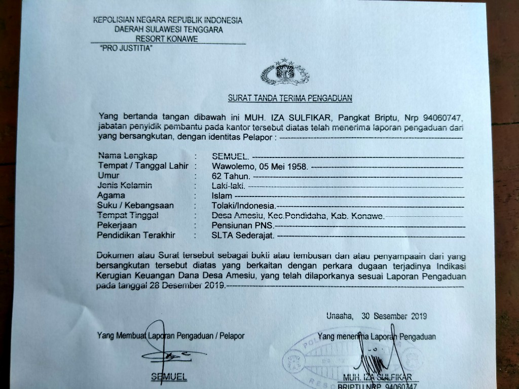 Surat tanda terima aduan Forum Masyarakat Desa Amesiu tentang Indikasi Kerugian Dana Desa Amesiu.