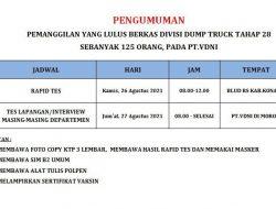 Pengumuman Divisi Dump Truck Tahap 28 PT. VDNI