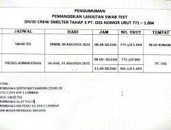 Pengumuman Lanjutan Divisi Crew Smelter Tahap 3 PT. OSS