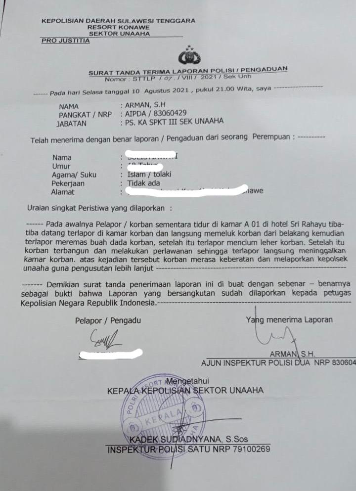 Bukti aduan SL (18) ke Polsek Unaaha.