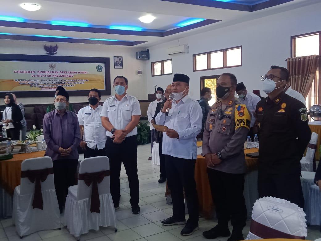 Deklarasi damai Polres Konawe, Pemda, dan tokoh kemasyarakatan dalam mewujudkan kontibmas yang kondusif di wilayah Konawe, Rabu (29/9/2021) di aula Polres Konawe.